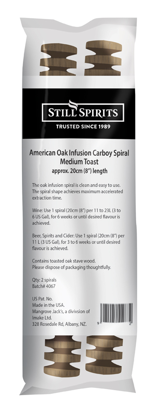 Still Spirits Carboy Infusion Spiral -  American Medium Toast Oak